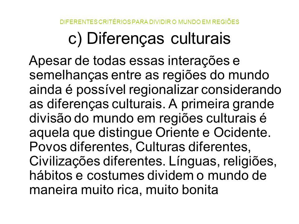 DIFERENTES CRITÉRIOS PARA DIVIDIR O MUNDO EM REGIÕES c) Diferenças culturais