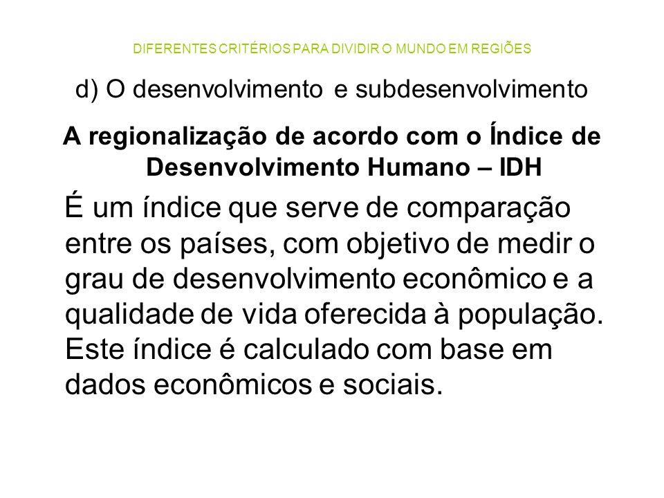 DIFERENTES CRITÉRIOS PARA DIVIDIR O MUNDO EM REGIÕES d) O desenvolvimento e subdesenvolvimento