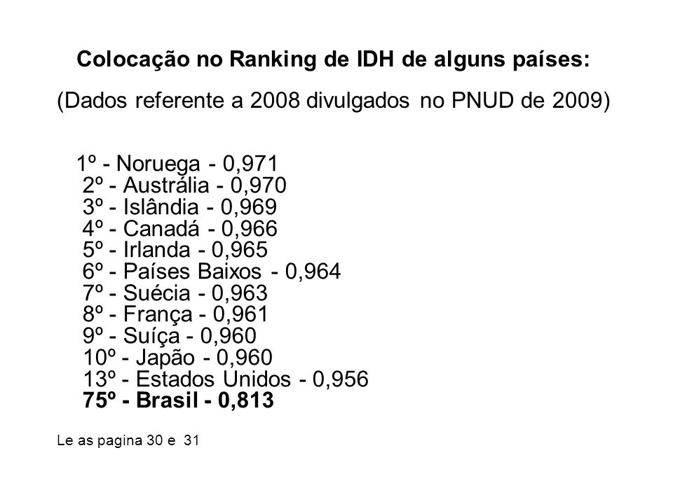 Colocação no Ranking de IDH de alguns países: (Dados referente a 2008 divulgados no PNUD de 2009)