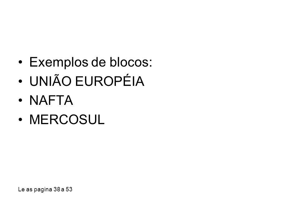 Exemplos de blocos: UNIÃO EUROPÉIA NAFTA MERCOSUL Le as pagina 38 a 53