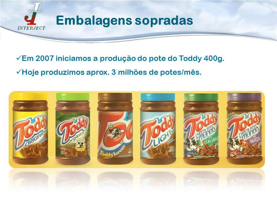 Embalagens sopradas Em 2007 iniciamos a produção do pote do Toddy 400g.