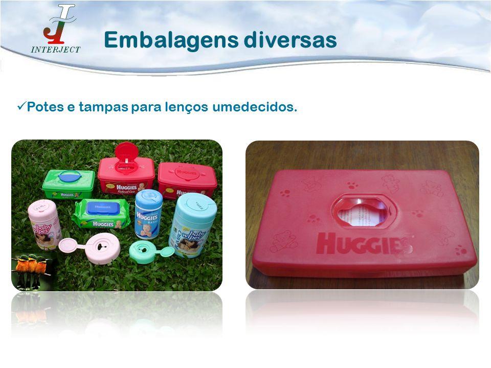 Embalagens diversas Potes e tampas para lenços umedecidos.