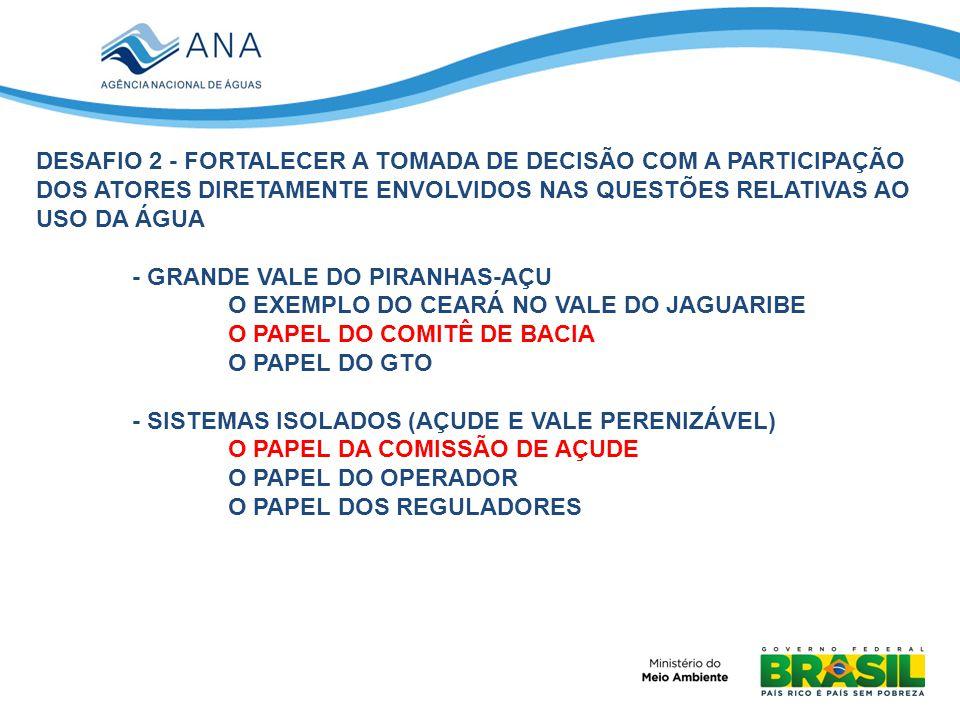 DESAFIO 2 - FORTALECER A TOMADA DE DECISÃO COM A PARTICIPAÇÃO DOS ATORES DIRETAMENTE ENVOLVIDOS NAS QUESTÕES RELATIVAS AO USO DA ÁGUA