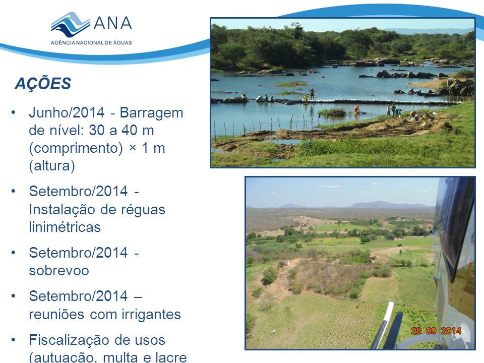 AÇÕES Junho/2014 - Barragem de nível: 30 a 40 m (comprimento) × 1 m (altura) Setembro/2014 - Instalação de réguas linimétricas.