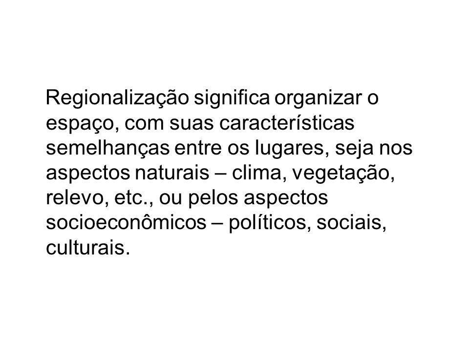 Regionalização significa organizar o espaço, com suas características semelhanças entre os lugares, seja nos aspectos naturais – clima, vegetação, relevo, etc., ou pelos aspectos socioeconômicos – políticos, sociais, culturais.
