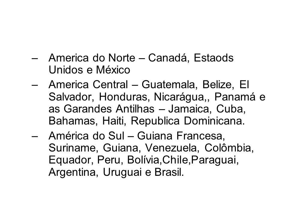America do Norte – Canadá, Estaods Unidos e México