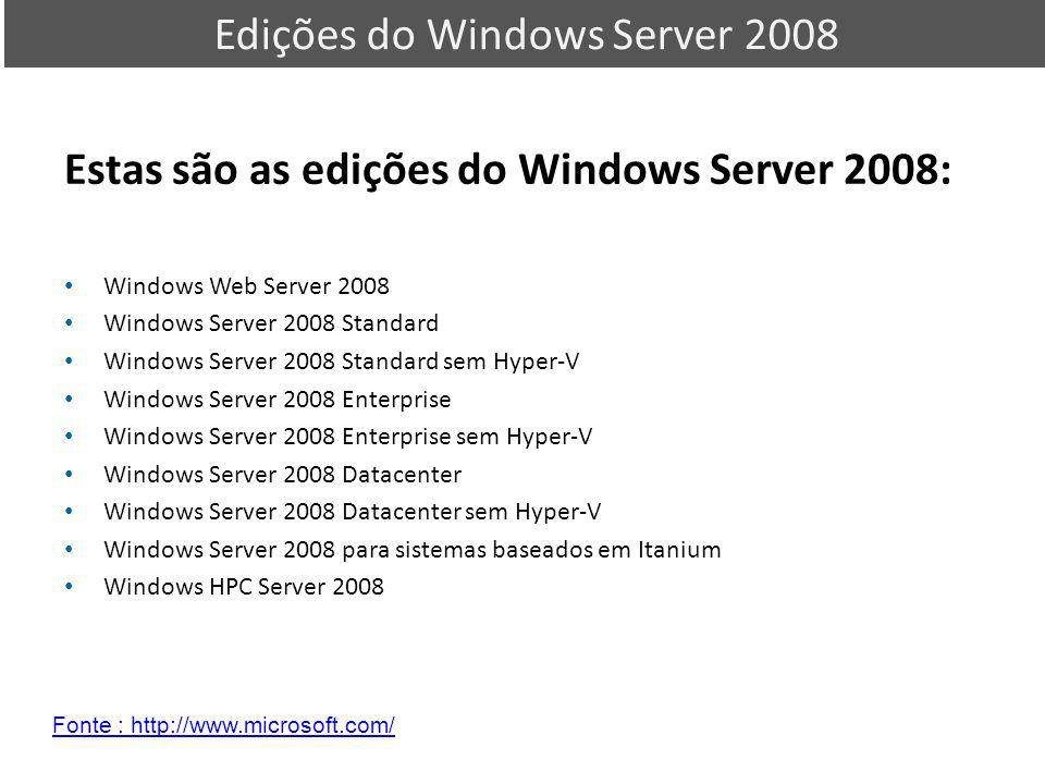 Edições do Windows Server 2008