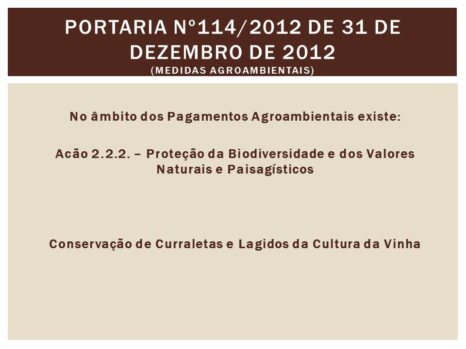 Portaria nº114/2012 de 31 de Dezembro de 2012 (Medidas agroambientais)