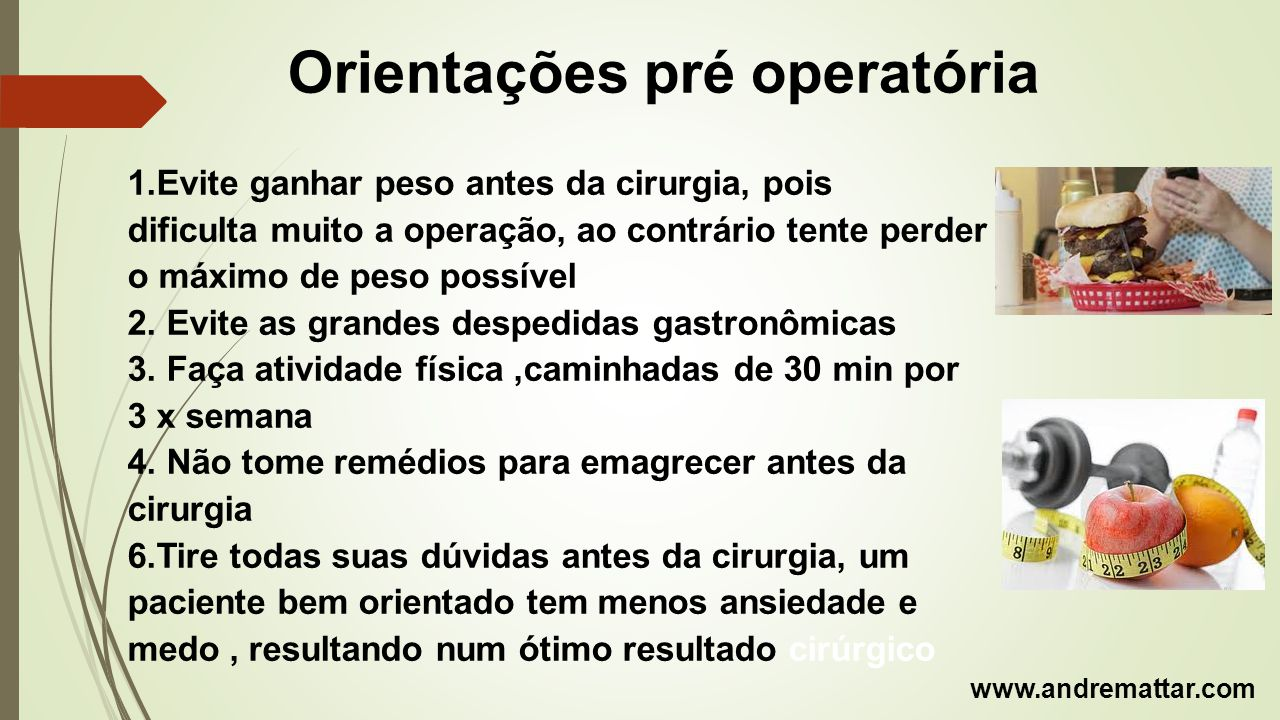 Orientações pré operatória