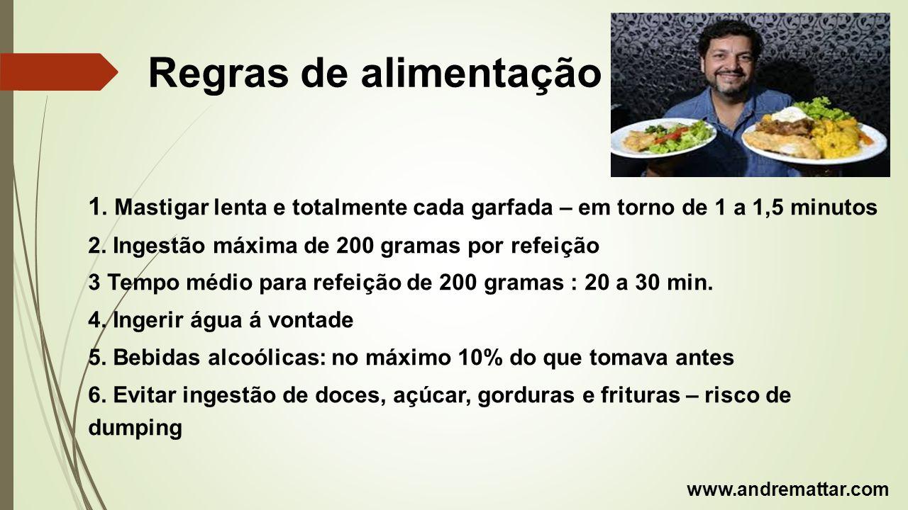 Regras de alimentação 1. Mastigar lenta e totalmente cada garfada – em torno de 1 a 1,5 minutos. 2. Ingestão máxima de 200 gramas por refeição.