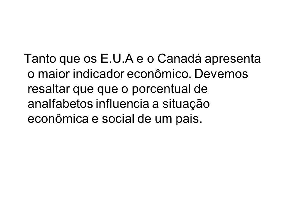 Tanto que os E. U. A e o Canadá apresenta o maior indicador econômico