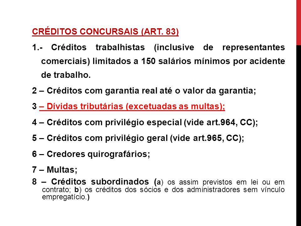 CRÉDITOS CONCURSAIS (ART. 83) 1