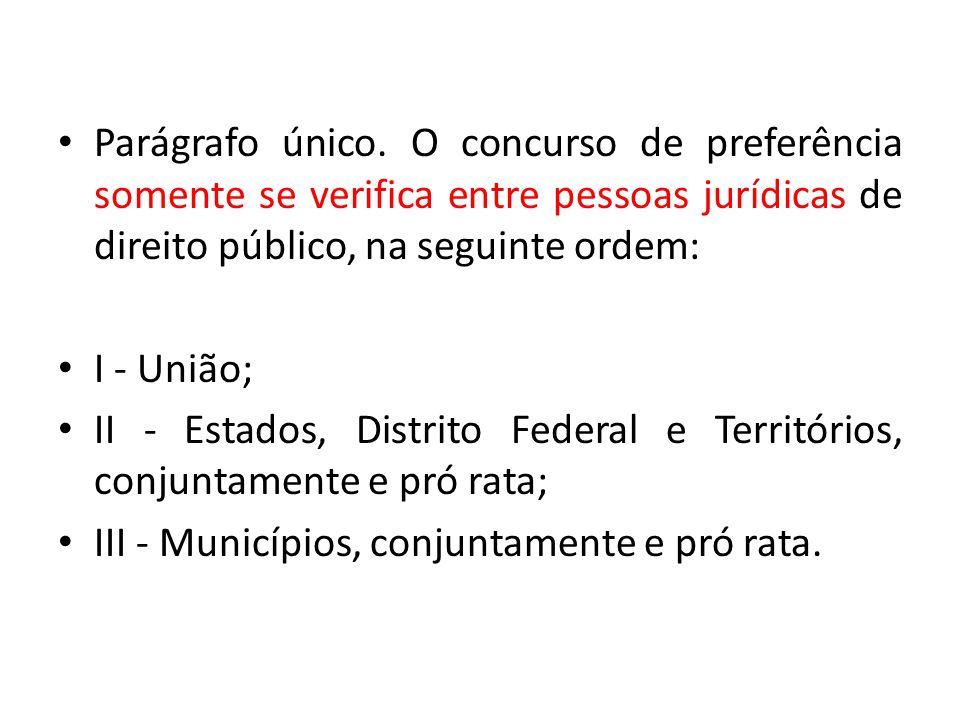 Parágrafo único. O concurso de preferência somente se verifica entre pessoas jurídicas de direito público, na seguinte ordem: