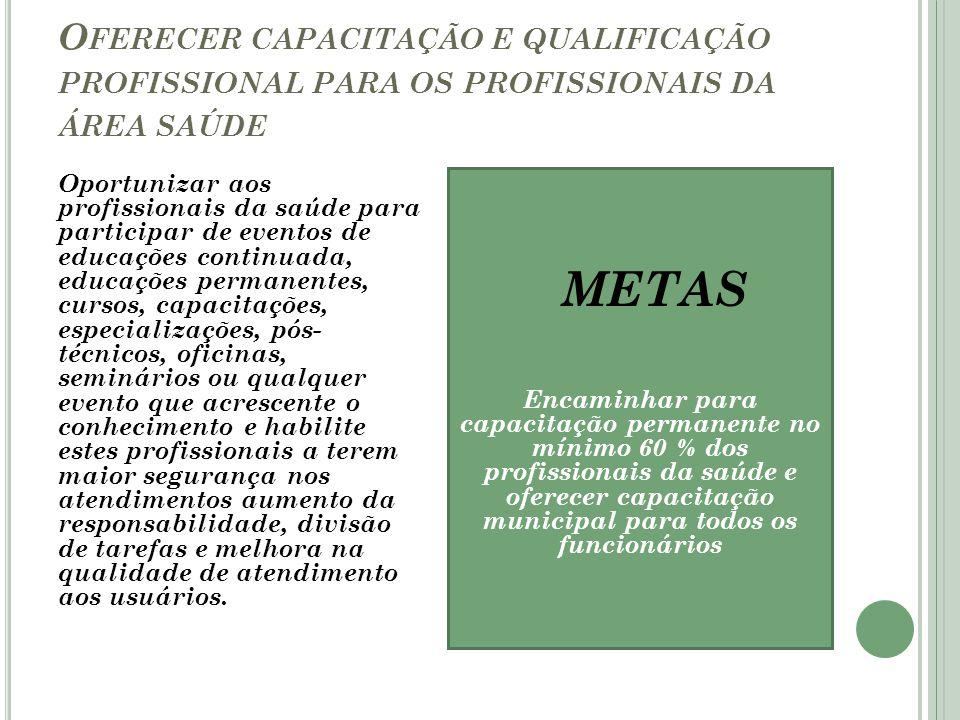 Oferecer capacitação e qualificação profissional para os profissionais da área saúde