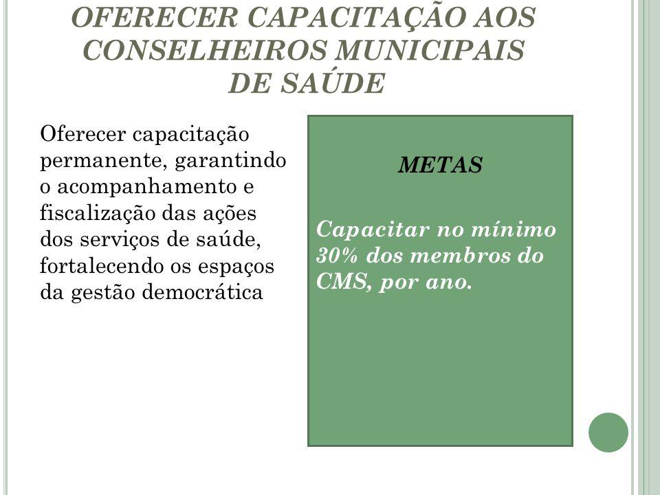 OFERECER CAPACITAÇÃO AOS CONSELHEIROS MUNICIPAIS DE SAÚDE