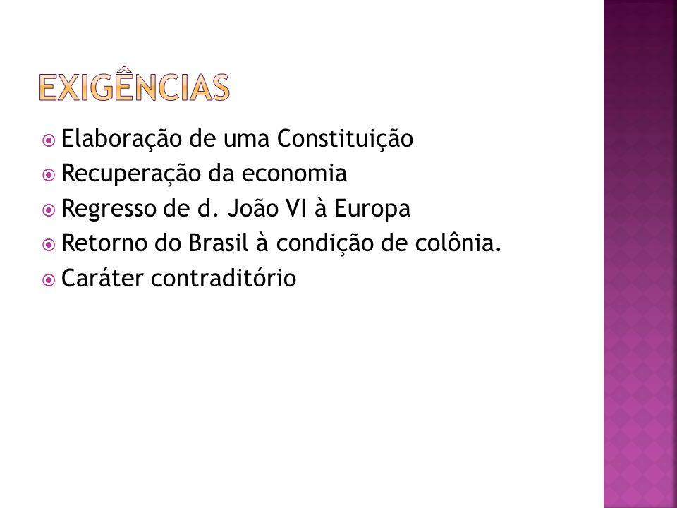 Exigências Elaboração de uma Constituição Recuperação da economia