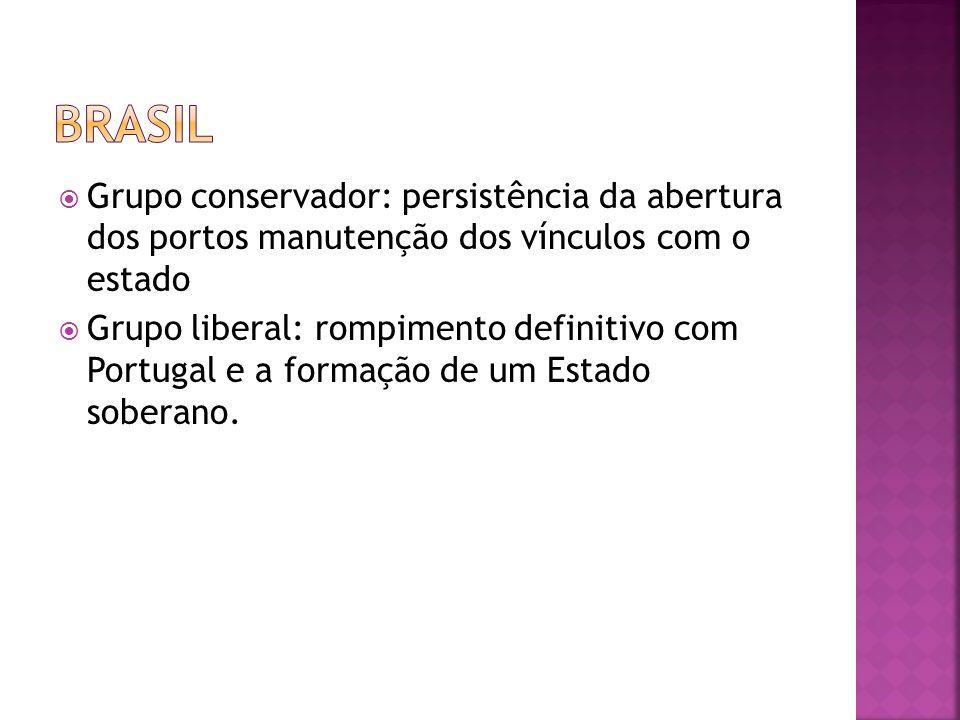 Brasil Grupo conservador: persistência da abertura dos portos manutenção dos vínculos com o estado.