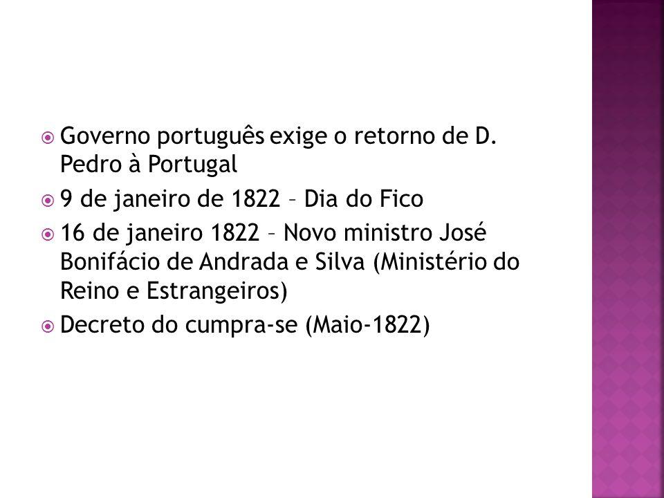 Governo português exige o retorno de D. Pedro à Portugal