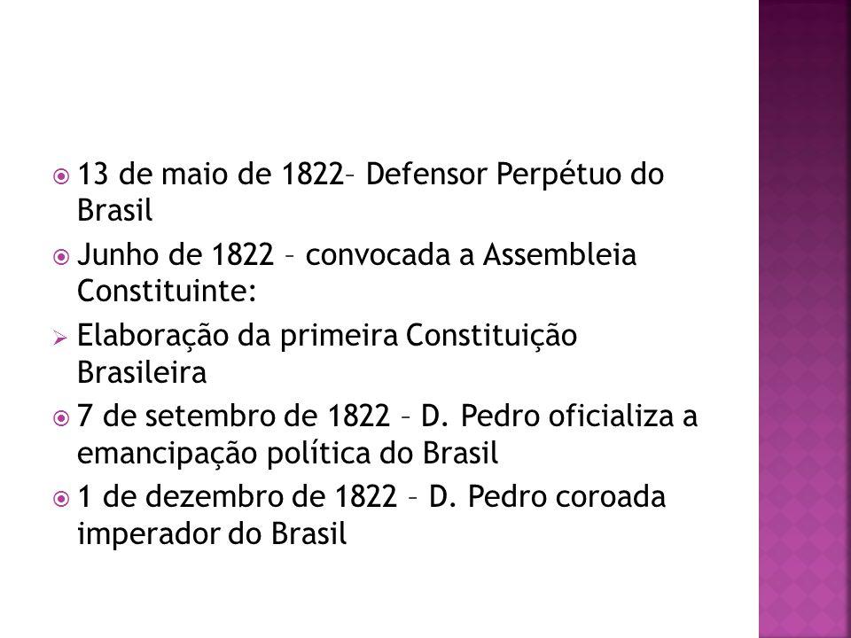 13 de maio de 1822– Defensor Perpétuo do Brasil