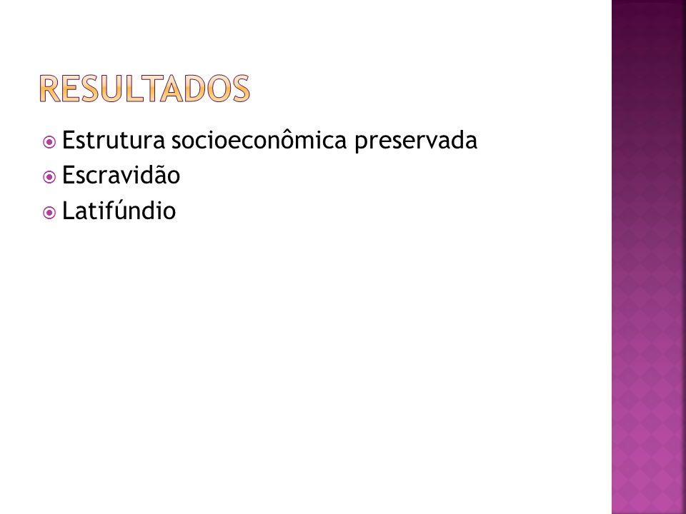 Resultados Estrutura socioeconômica preservada Escravidão Latifúndio