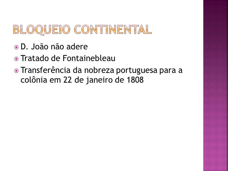 Bloqueio continental D. João não adere Tratado de Fontainebleau
