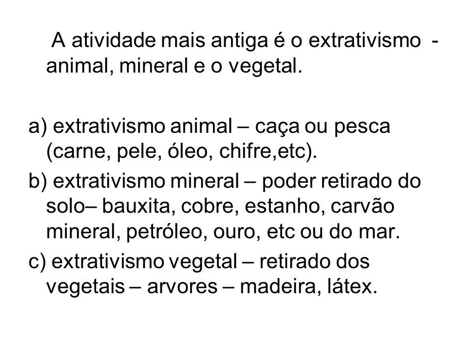 A atividade mais antiga é o extrativismo - animal, mineral e o vegetal.
