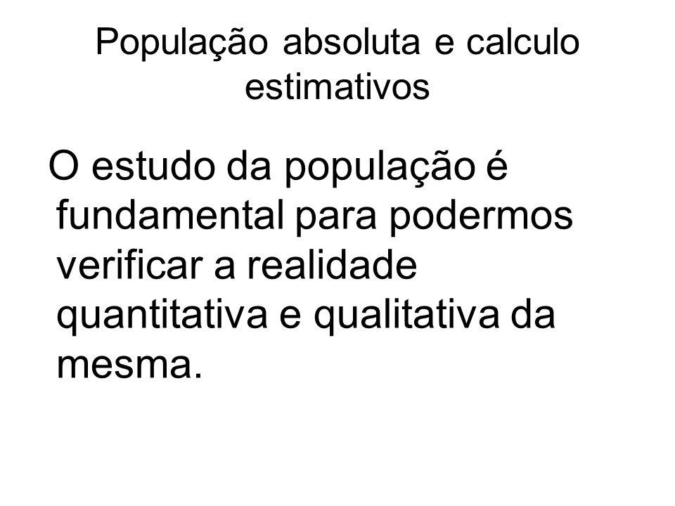 População absoluta e calculo estimativos