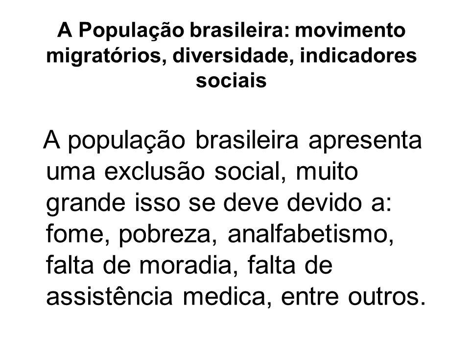 A População brasileira: movimento migratórios, diversidade, indicadores sociais