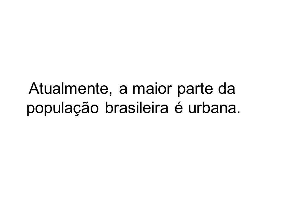 Atualmente, a maior parte da população brasileira é urbana.