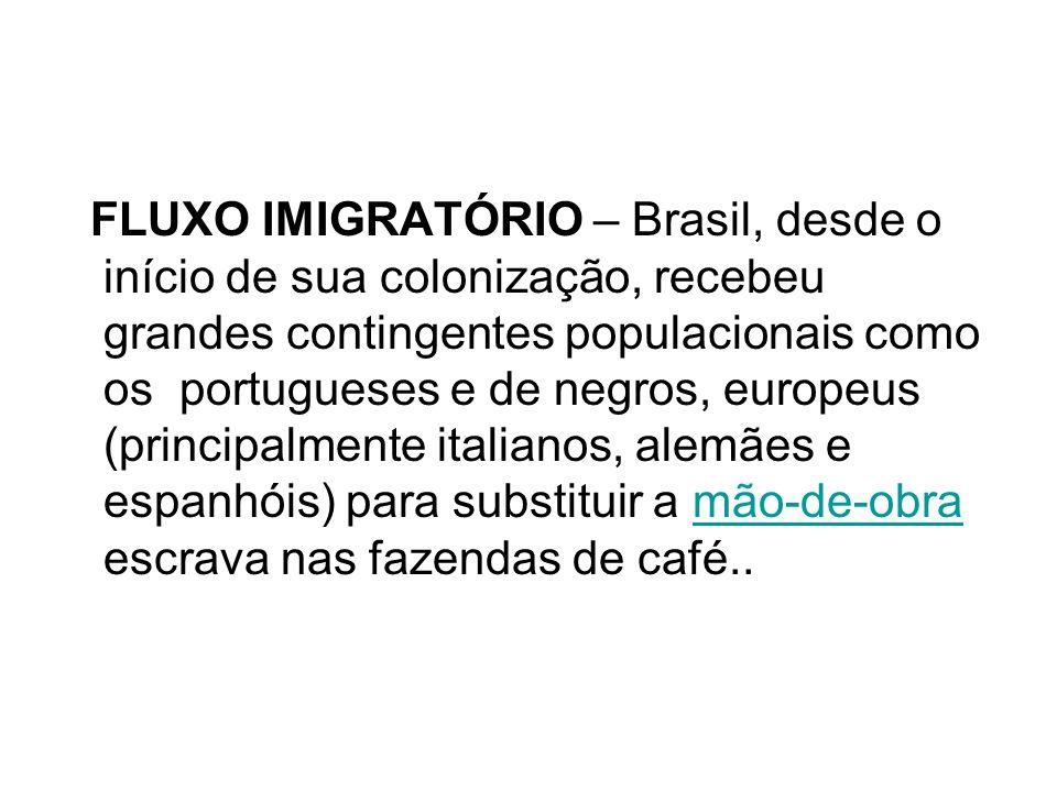 FLUXO IMIGRATÓRIO – Brasil, desde o início de sua colonização, recebeu grandes contingentes populacionais como os portugueses e de negros, europeus (principalmente italianos, alemães e espanhóis) para substituir a mão-de-obra escrava nas fazendas de café..