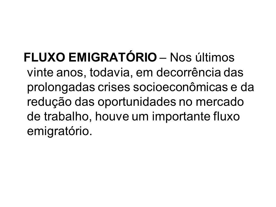FLUXO EMIGRATÓRIO – Nos últimos vinte anos, todavia, em decorrência das prolongadas crises socioeconômicas e da redução das oportunidades no mercado de trabalho, houve um importante fluxo emigratório.
