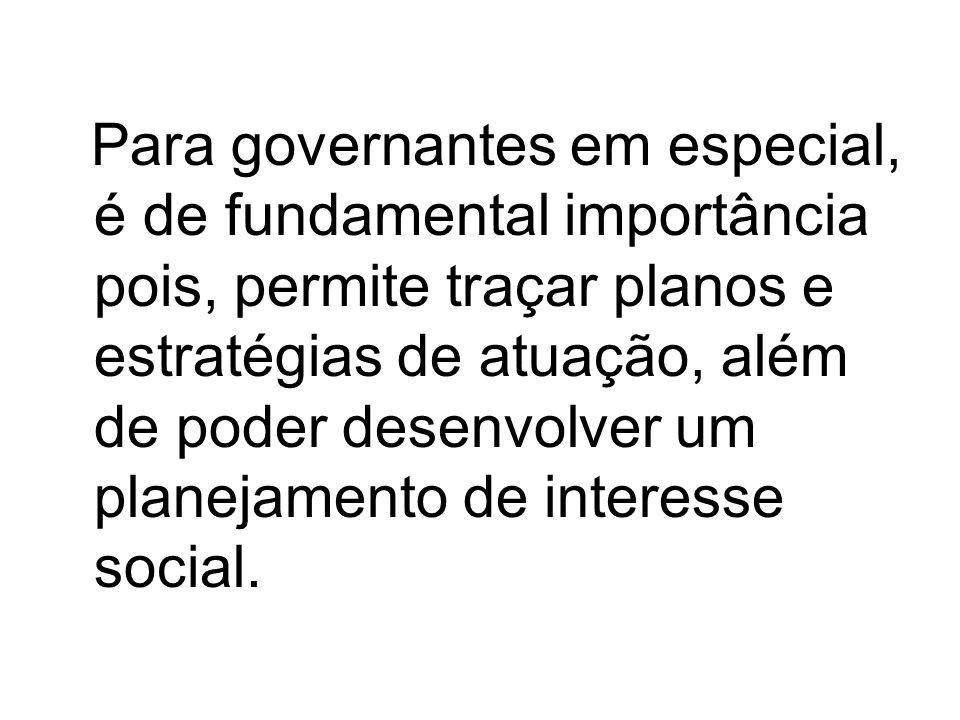 Para governantes em especial, é de fundamental importância pois, permite traçar planos e estratégias de atuação, além de poder desenvolver um planejamento de interesse social.
