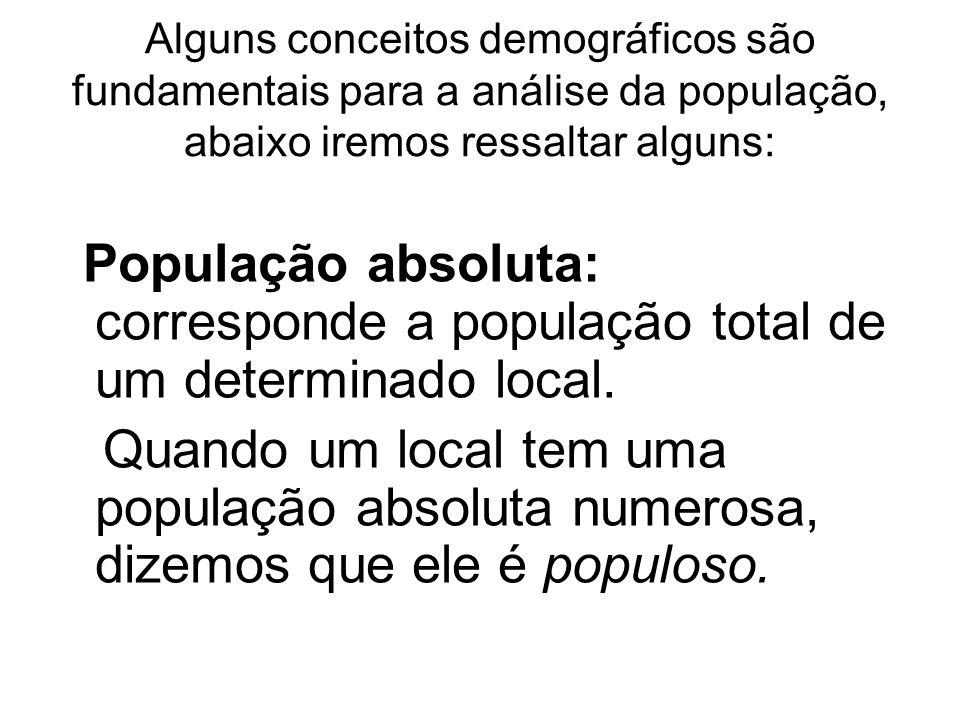 Alguns conceitos demográficos são fundamentais para a análise da população, abaixo iremos ressaltar alguns: