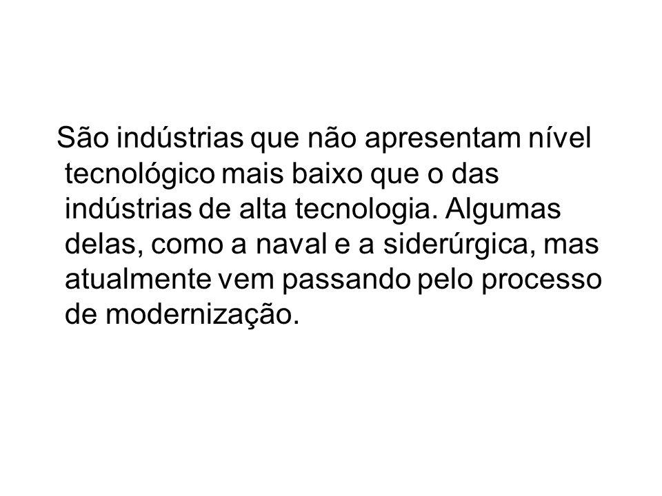 São indústrias que não apresentam nível tecnológico mais baixo que o das indústrias de alta tecnologia.