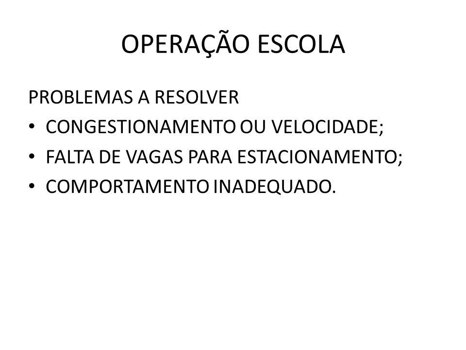 OPERAÇÃO ESCOLA PROBLEMAS A RESOLVER CONGESTIONAMENTO OU VELOCIDADE;