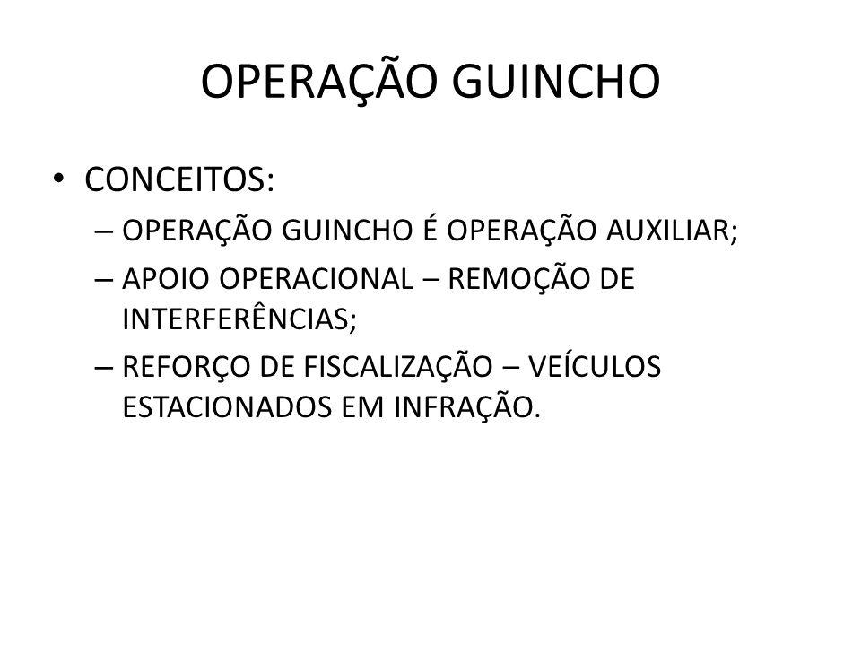 OPERAÇÃO GUINCHO CONCEITOS: OPERAÇÃO GUINCHO É OPERAÇÃO AUXILIAR;