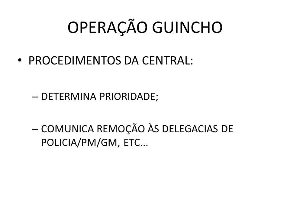 OPERAÇÃO GUINCHO PROCEDIMENTOS DA CENTRAL: DETERMINA PRIORIDADE;