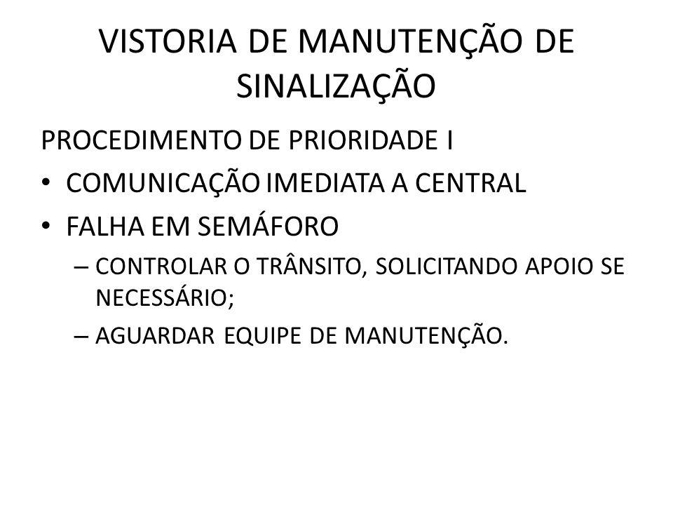 VISTORIA DE MANUTENÇÃO DE SINALIZAÇÃO