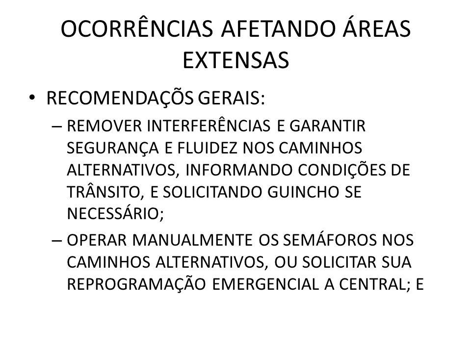 OCORRÊNCIAS AFETANDO ÁREAS EXTENSAS