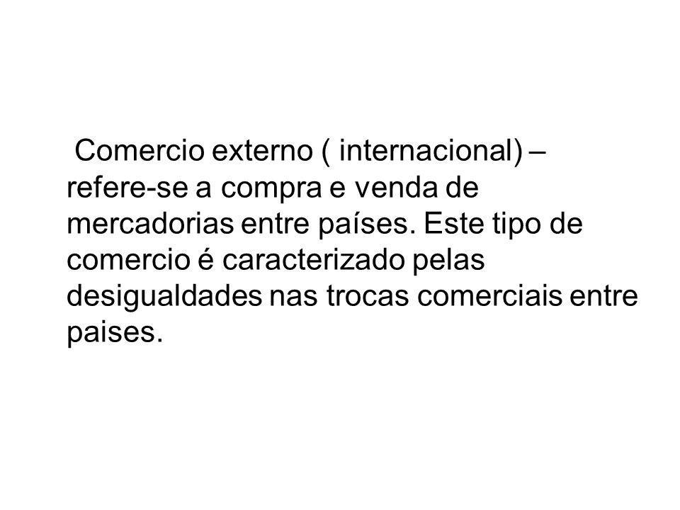 Comercio externo ( internacional) – refere-se a compra e venda de mercadorias entre países.