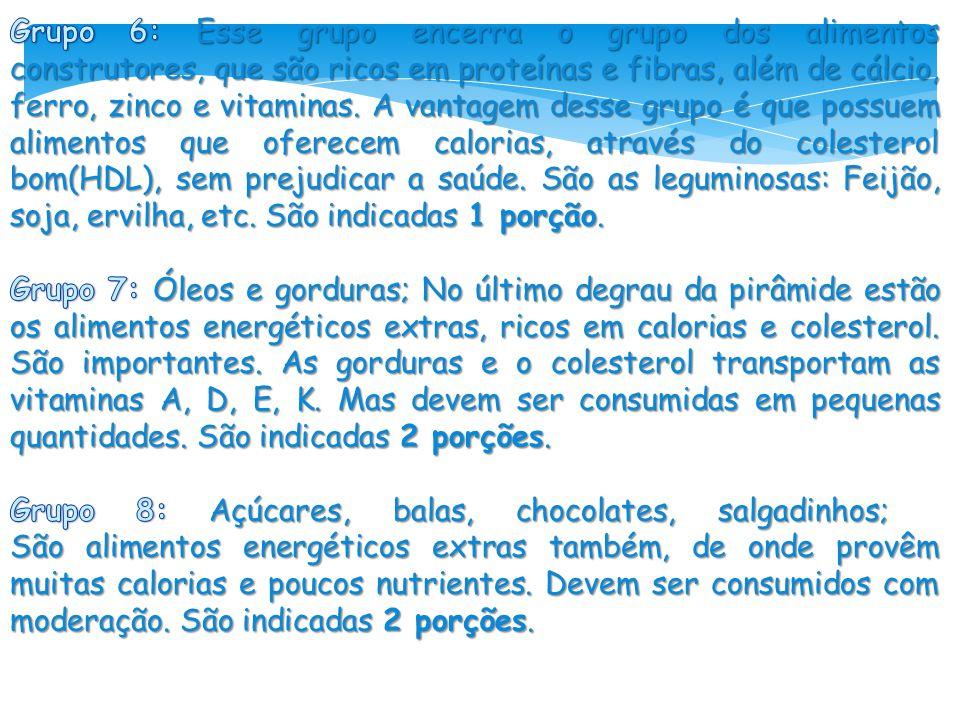 Grupo 6: Esse grupo encerra o grupo dos alimentos construtores, que são ricos em proteínas e fibras, além de cálcio, ferro, zinco e vitaminas. A vantagem desse grupo é que possuem alimentos que oferecem calorias, através do colesterol bom(HDL), sem prejudicar a saúde. São as leguminosas: Feijão, soja, ervilha, etc. São indicadas 1 porção.