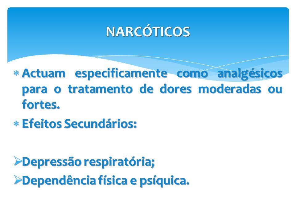 NARCÓTICOS Actuam especificamente como analgésicos para o tratamento de dores moderadas ou fortes. Efeitos Secundários: