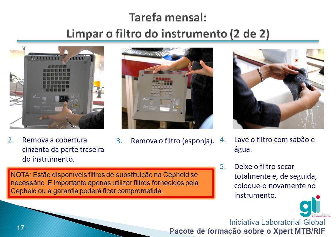 Tarefa mensal: Limpar o filtro do instrumento (2 de 2)
