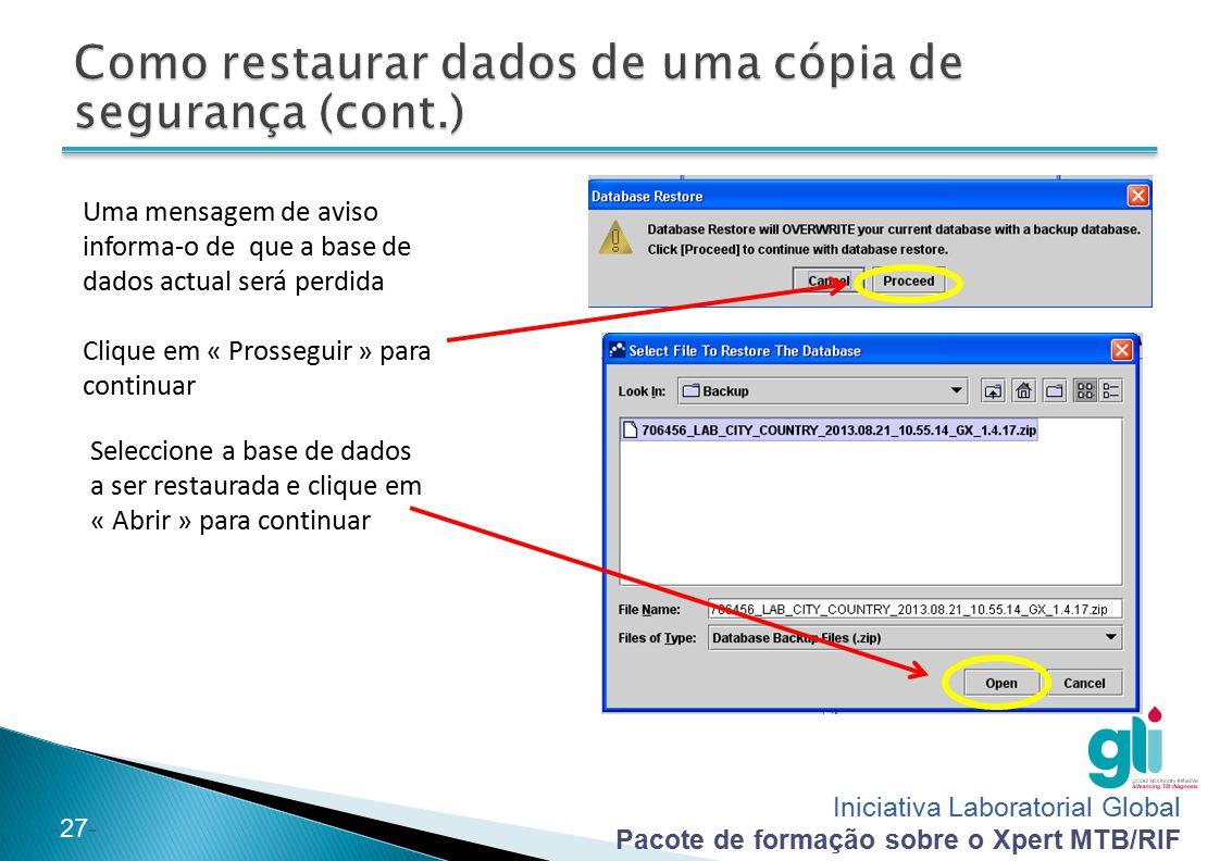 Como restaurar dados de uma cópia de segurança (cont.)