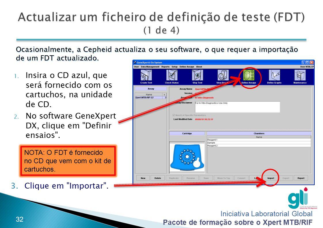 Actualizar um ficheiro de definição de teste (FDT) (1 de 4)