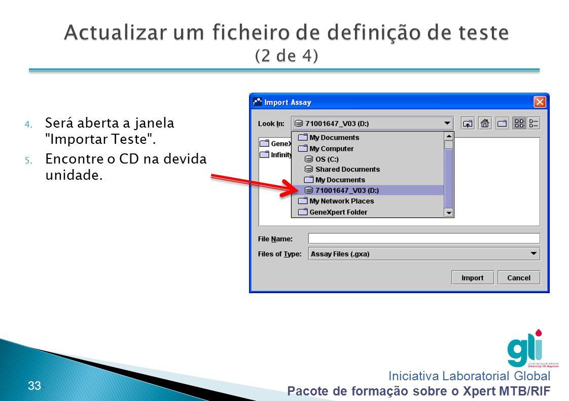 Actualizar um ficheiro de definição de teste (2 de 4)