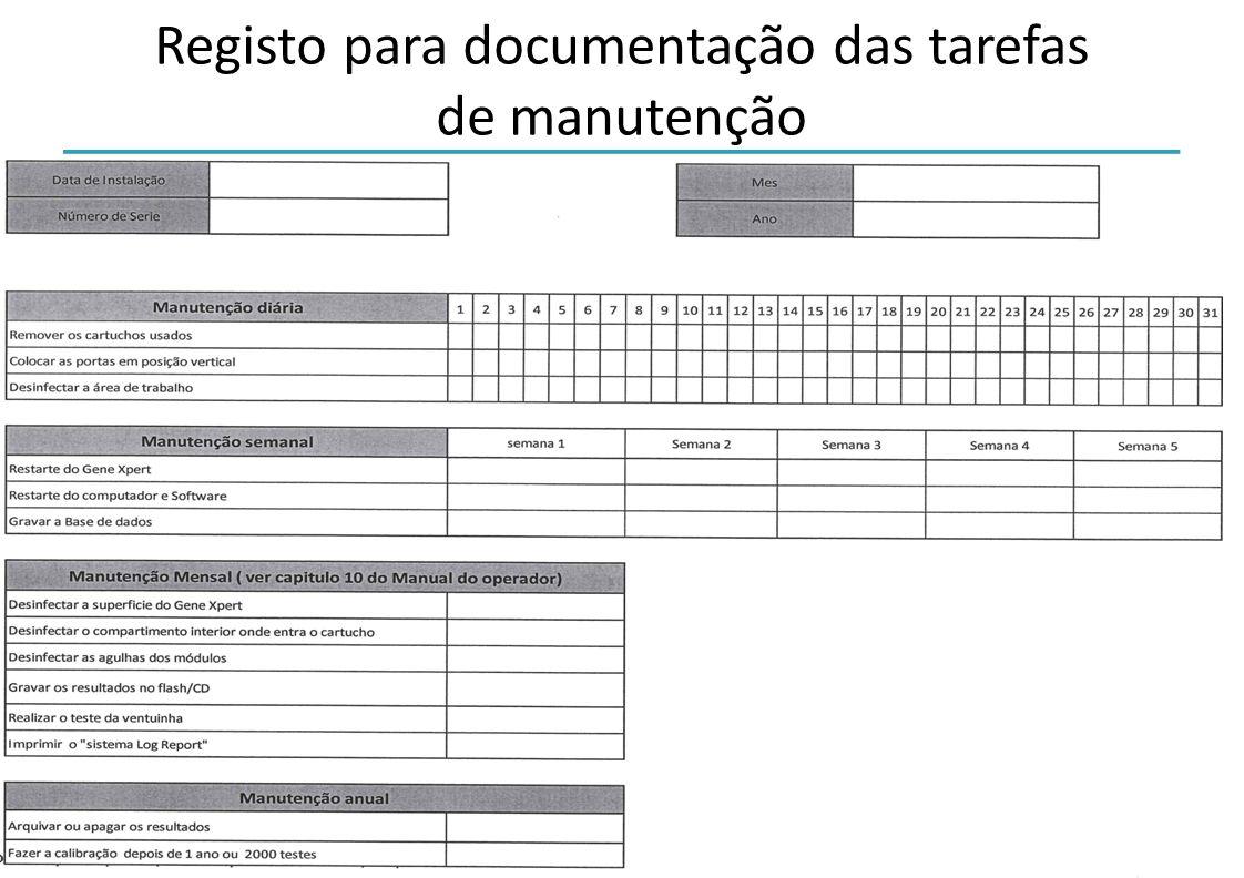Registo para documentação das tarefas de manutenção