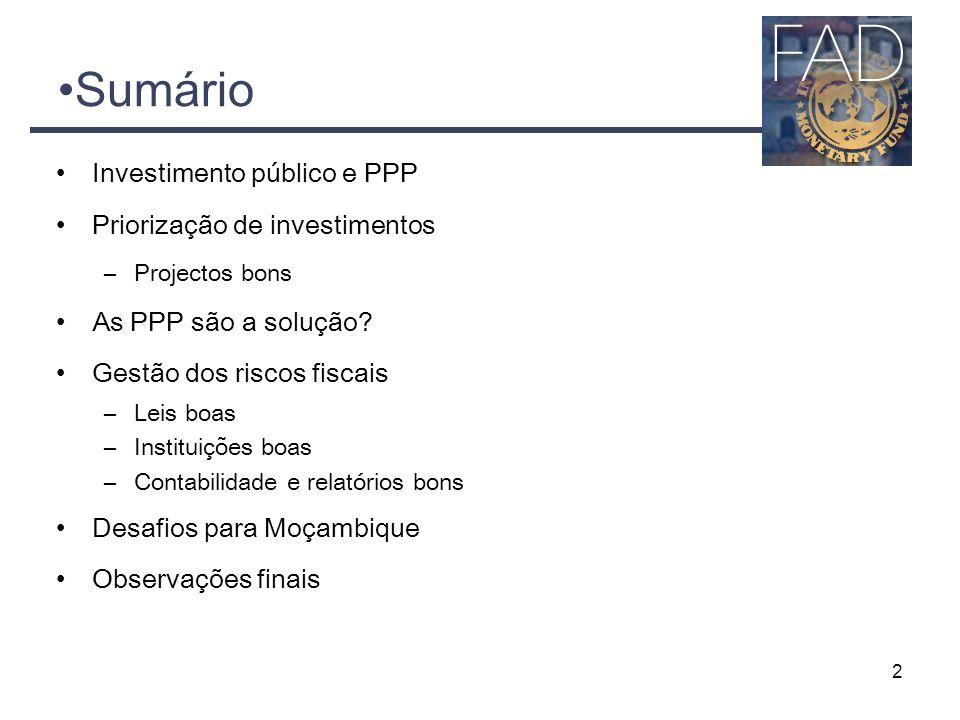 Sumário Investimento público e PPP Priorização de investimentos