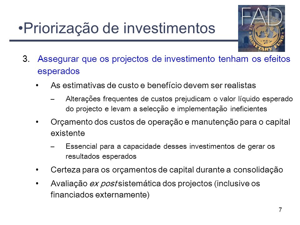 Priorização de investimentos