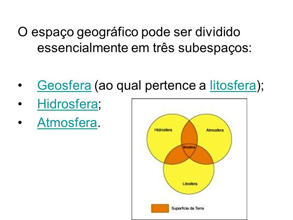 O espaço geográfico pode ser dividido essencialmente em três subespaços: